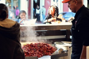 Crawfish boil at French Market